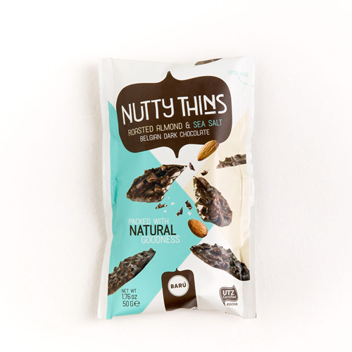 Picture of Belgian dark chocolate snacking bites with roasted almonds and sea salt.