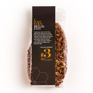 "Organic granola #3 ""I Just Love Breakfast"" 100% cacao"